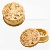 Wooden Grinder Leaf Logo 2 Parts 50mm